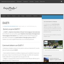 DUETI : Explications & Liste des DUETI