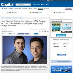 Larry Page et Sergey Brin (nés en 1973), Google Inc. : les duettistes qui ont simplifié et propagé l'usage d'Internet - Les 50 plus grands patrons de l'histoire - Histoire éco - Enquêtes