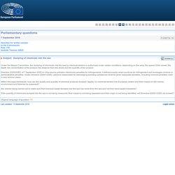 PARLEMENT EUROPEEN - Réponse à question P-006734-16 Rejets de produits chimiques en mer