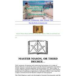Duncan's Masonic Ritual and Monitor: Master Mason, or Third Degree