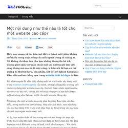 Một nội dung như thế nào là tốt cho một website cao cấp? - Thiết kế Website 100 triệu
