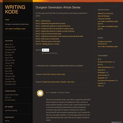 Dungeon Generation Article Series « Writing Kode