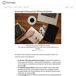 Duotrope: Our Features for Writers & Artists