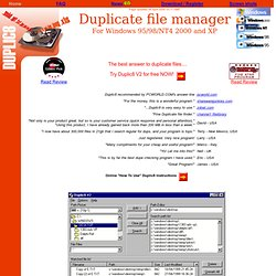 Duplic8 - Duplicate File finder and manager for Windows 95, 98, ME, NT4, Windows 2000 and XP