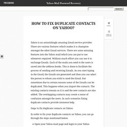 How to Fix Duplicate Contacts on Yahoo?