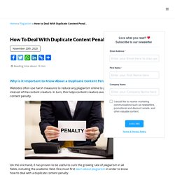 How to Deal With Duplicate Content Penalty