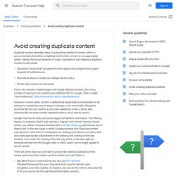 Duplicate content - Webmaster Tools Help