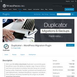 Duplicator «WordPress Plugins