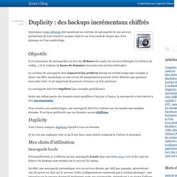 Duplicity : des backups incrémentaux chiffrés
