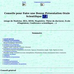 F. Duprat: Conseils pour Faire une Bonne Présentation Orale.