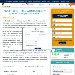 MBA HR Course, Fees, Duration, Eligibility, Syllabus, Colleges, Job & Salary