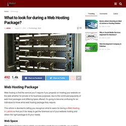 What to look for during a Web Hosting Package? - Dubai Ent