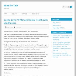 During Covid-19 Manage Mental Health With Mindfulness