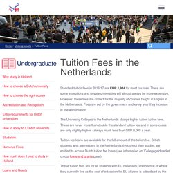 Dutch university tuition fees