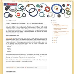 RT Dygert: Useful Knowledge on Teflon O-Rings and Wear Rings