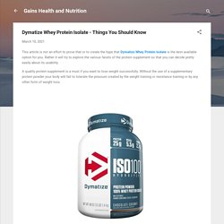 Dymatize Whey Protein Isolate - Things You Should Know