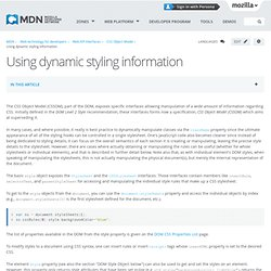 Using dynamic styling information - MDC