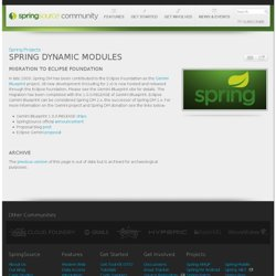 Spring Dynamic Modules for OSGi(tm) Service Platforms | Springframework.org