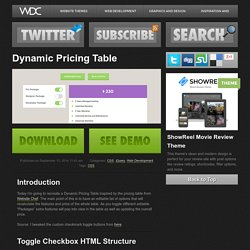 Dynamic Pricing Table - WebDesignCrowd