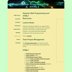 Dynamic Web Programming and HTML5: Resources