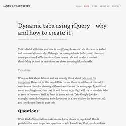 Dynamic tabs using jQuery - why and how to create it