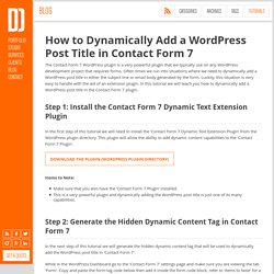 Dynamically Add a WordPress Post Title in Contact Form 7