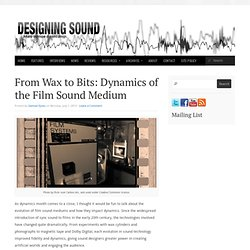 From Wax to Bits: Dynamics of the Film Sound Medium