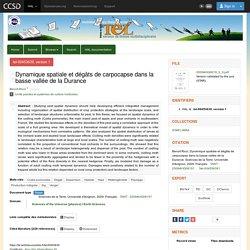 Université d'Avignon 04/09/09 Thèse en ligne : Dynamique spatiale et dégâts de carpocapse dans la basse vallée de la Durance