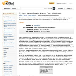 Using DynamoDB with Amazon Elastic MapReduce : Articles & Tutorials