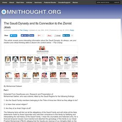 The Saudi Dynasty and Its Connection to the Zionist Jews