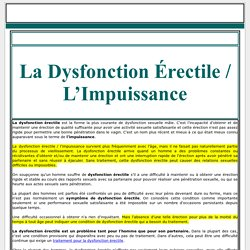La Dysfonction Érectile / L'Impuissance - Santé Sexuelle