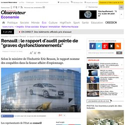 "Renault : le rapport d'audit pointe de ""graves dysfonctionnements"" - Economie"