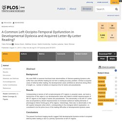 A Common Left Occipito-Temporal Dysfunction in Developmental Dyslexia and Acquired Letter-By-Letter Reading?