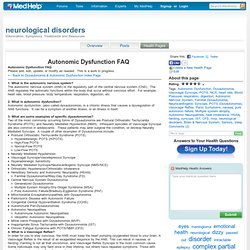 Autonomic Dysfunction FAQ - FAQs - neurological disorders Health Pages