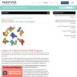 3 Signs of a Dysfunctional ITSM Program - Navvia