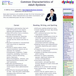Test for Dyslexia - Common Traits in Adults