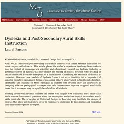 MTO 21.4: Parsons, Dyslexia and Post-Secondary Aural Skills Instruction