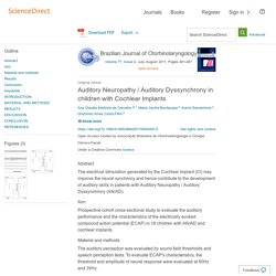 Auditory Neuropathy / Auditory Dyssynchrony in children with Cochlear Implants - ScienceDirect