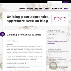 E.learning, temps et GRH