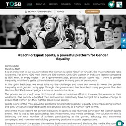 #EachForEqual: Sports, a powerful platform for Gender Equality