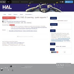 EAD, FAD, E-Learning : quels rapports ?