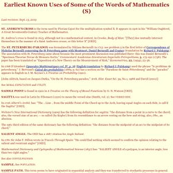 Earliest Known Uses of Some of the Words of Mathematics (S)