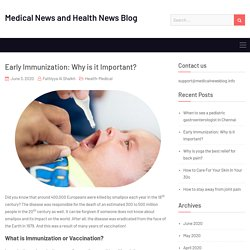 Early Immunization: Why is it Important?
