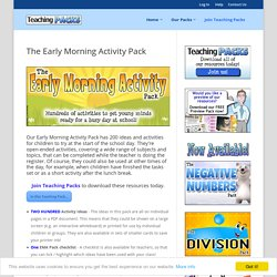 The Early Morning Activity Pack -