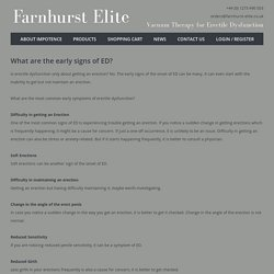 What are the early signs of ED? : Farnhurst Elite,UK