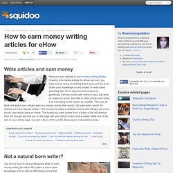How to earn money writing articles for eHow