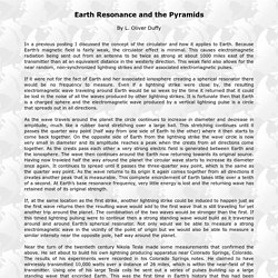 Earth Resonance and the Pyramids