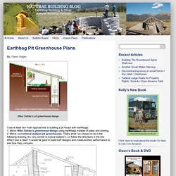 Earthbag Pit Greenhouse Plans