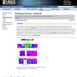 Earthquake Glossary - magnitude