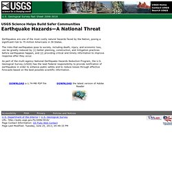 Fact Sheet 2006-3016: Earthquake Hazards--A National Threat